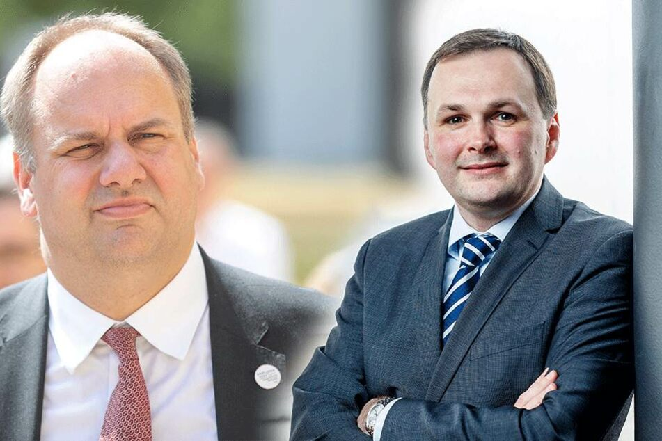 Linke-Chef André Schollbach (r.,39, F.) legt sich mit OB Dirk Hilbert (46, FDP) an.