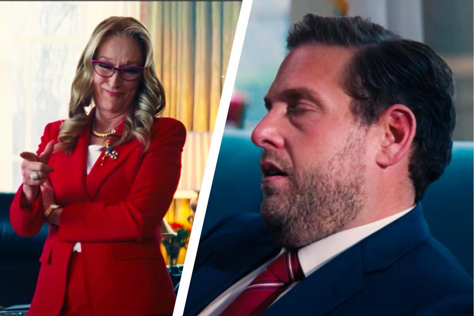 """Meryl Streep (72, l.) spielt in """"Don't Look Up"""" die US-Präsidentin Janie Orlean, während Jonah Hill (37) ihren Verwandten Jason verkörpert."""