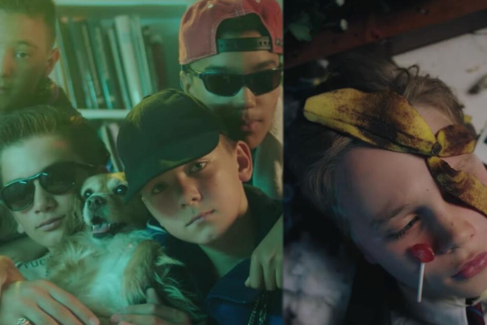 Die jugendlichen 187-Strassenbande-Rapper feiern die Party, während Young Böhmermann mit Lolli und Banane im Gesicht aufwacht.