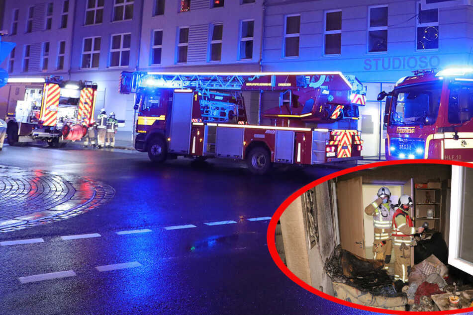 Dresden: Wohnungsbrand in der Neustadt: Feuerwehreinsatz auf der Bautzner Straße!