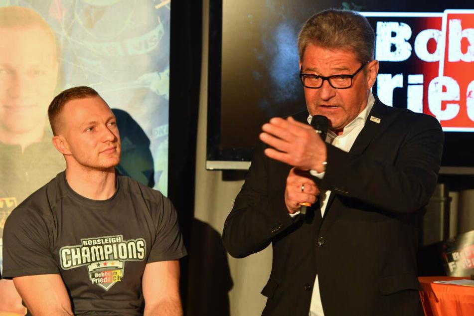 WM-Held Francesco Friedrich beim Empfang in Pirna mit Oberbürgermeister Klaus-Peter Hanke.