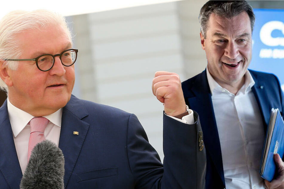 Bundespräsident Steinmeier (62) kritisiert Begriffe wie die von Bayerns Ministerpräsident Söder (51, CSU) scharf. (Bildmontage)