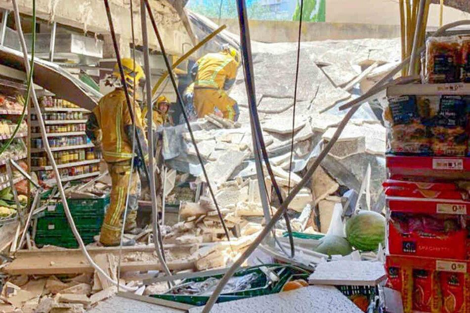 Die Polizei teilte ein Bild des zerstörten Supermarktes.