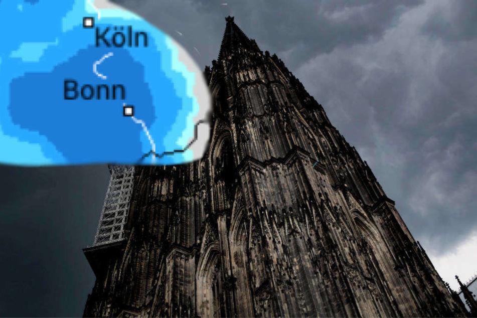 Morgen möglich: Gewitterwolken über dem Kölner Dom.