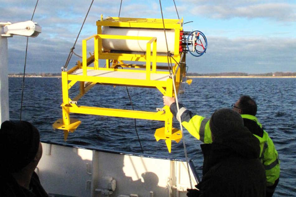 Forscher bringen das für die Stromversorgung verantwortliche Gestell des Unterwasserobservatoriums ins Wasser. (Archivbild)