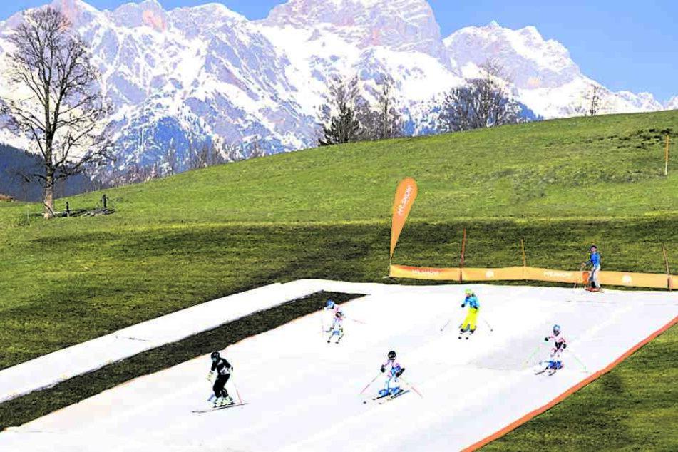 Skifahren funktioniert dank textilem Schnee aus Chemnitz auch bei grüner Wiese. Fotos: