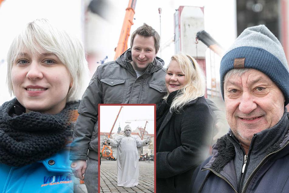 Links: Julia Krum. | Mitte: Ronny Jehn & Paulina Mandrella. | Rechts: Jochen Große. | Kleines Foto: Ladislav Berki (Schausteller).