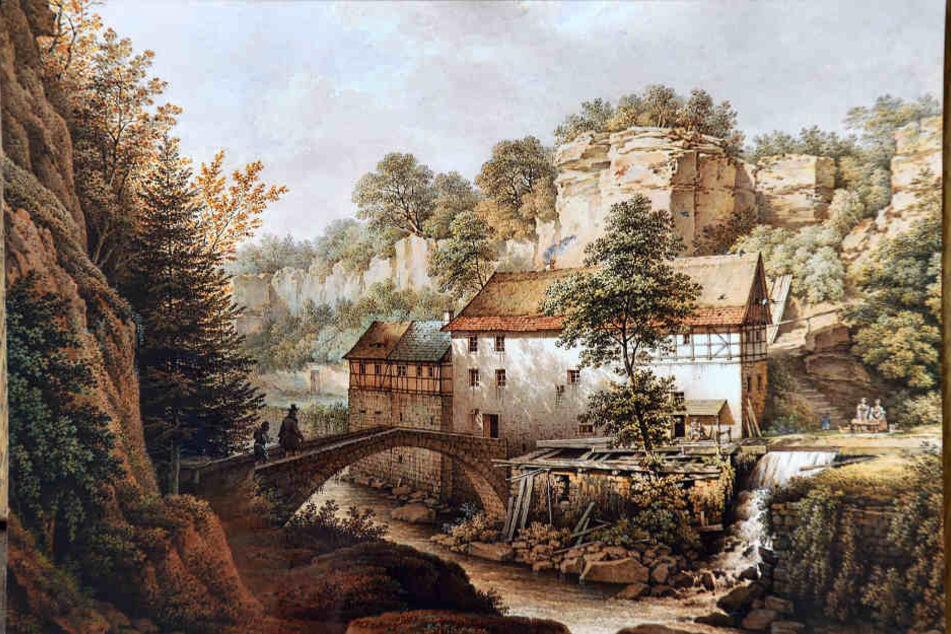 Die Lochmühle auf einem alten Gemälde. Hier ließ sich Komponist Richard Wagner zum Lohengrin inspirieren.
