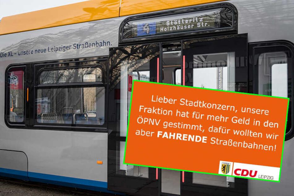 Tram-Probleme: Leipziger CDU kann sich Seitenhieb nicht verkneifen