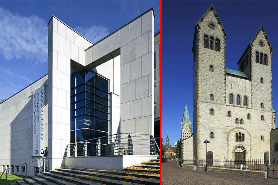 """Das Stadtmuseum am Abdinghof (links) will im Kreuzgang des ehemaligen Abdinghofklosters eine Glocke mit der Aufschrift """"Gott ist tot"""" aufhängen."""