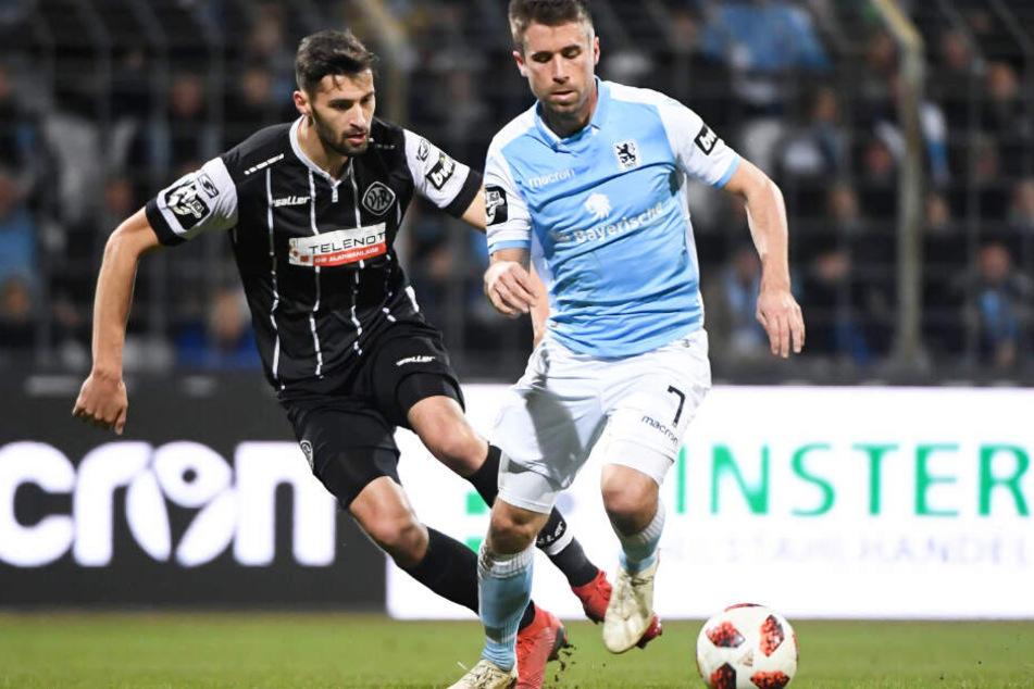 Der Stefan Lex (r.) und der TSV 1860 München mussten gegen Aalen lange zittern.