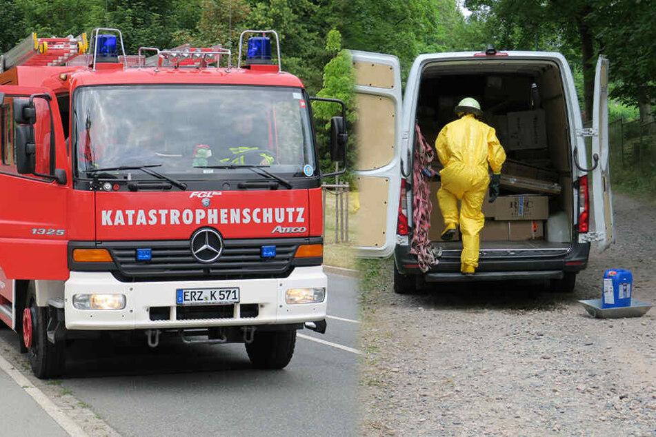 ABC-Alarm im Erzgebirge: Ätzende Flüssigkeit in Paketfahrzeug ausgelaufen