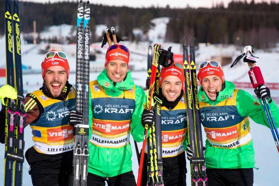 Die Deutschen Kombinierer waren heute in Lillehammer richtig erfolgreich (v.l.):Johannes Rydzek, Björn Kircheisen,Fabian Rießleund Eric Frenzel
