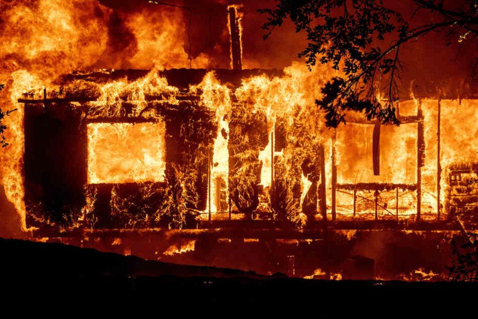 Ein Haus brennt lichterloh, während sich ein Waldbrand im US-Bundesstaat Kalifornien aufgrund starker Winde weiter ausbreitet.