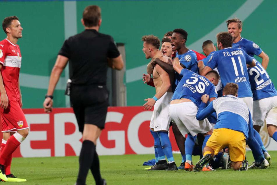 Im August 2018 verloren die Stuttgarter die Partie gegen Rostock.