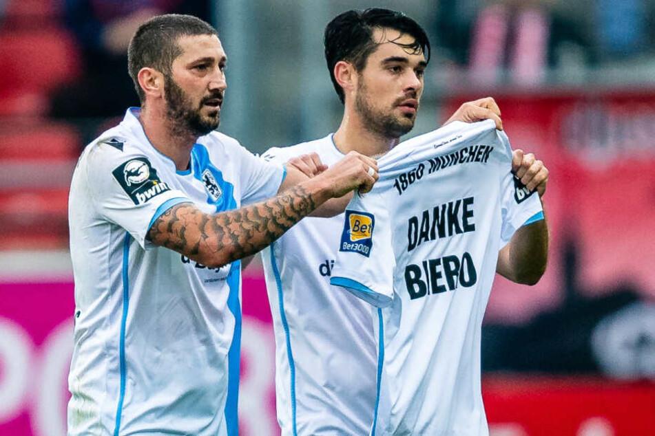 Danke Biero: Nach dem 1:0 für die Löwen wurden ganz spezielle Grüße nach München geschickt.
