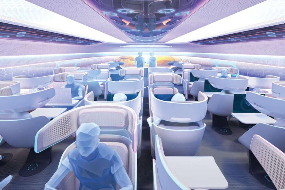 Flugzeugbauer Airbus zeigt, wie eine Flugzeugkabine im Jahr 2030 aussehen könnte.