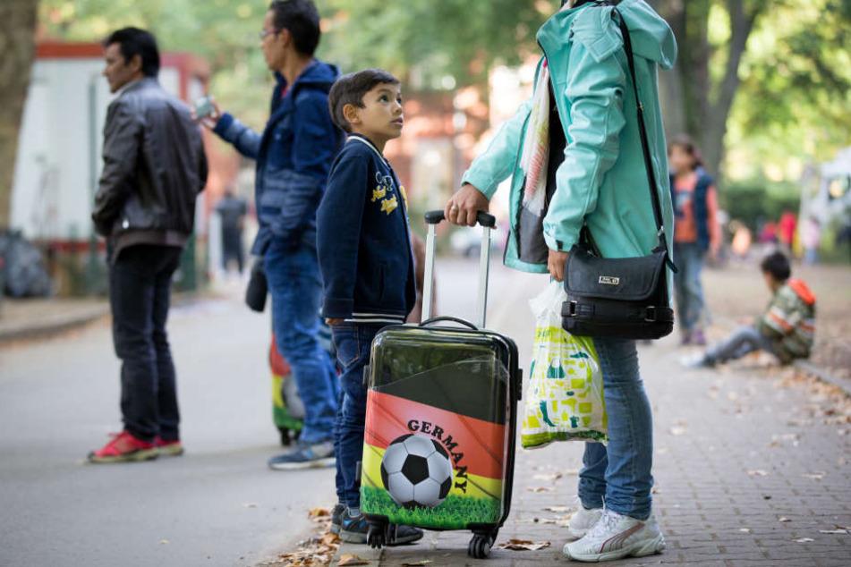 Flüchtlinge nach ihrer Ankunft in Berlin. (Archivbild)