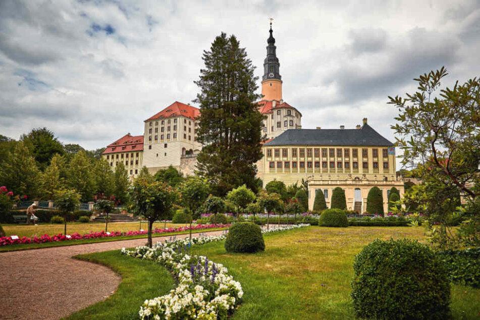 Der Garten im Schlosspark Weesenstein.