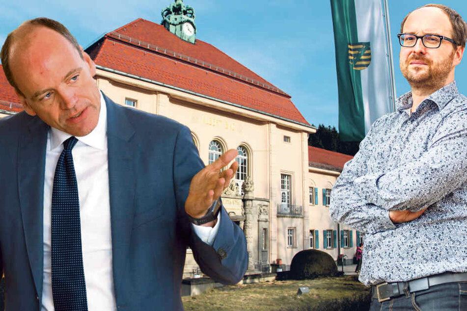 Li.: Sparfuchs für seine Vorgänger. Aber zu Lasten der Arbeitnehmer? Matthias Haß (51, CDU). Re.: Kritiker Nico Brünler (44, Linke)