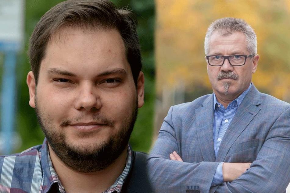 Links: Stadtrat Toni Rotter (29) hat Beschwerde beim Sächsischen  Datenschutzbeauftragten eingelegt. Rechts: Ordnungsbürgermeister Miko Runkel