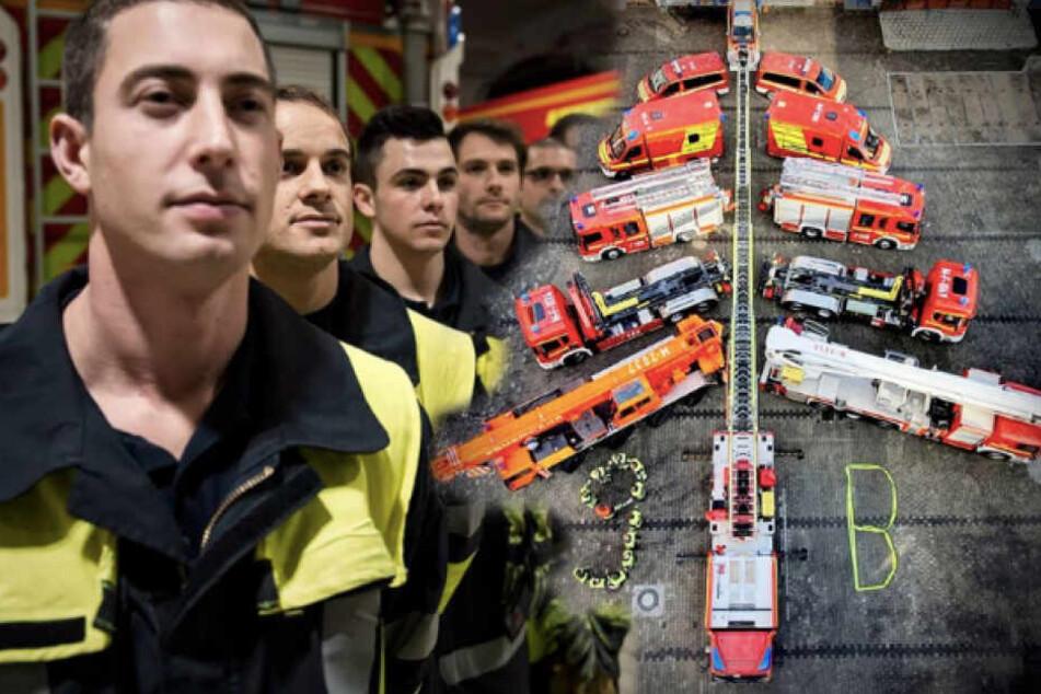 Die Feuerwehr München hat aus ihren Einsatzfahrzeugen einen Baum gebaut. (Bildmontage)