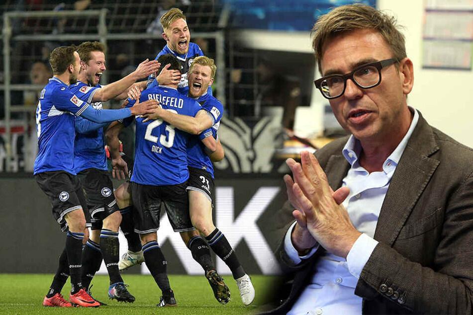 Arminias Finanz-Geschäftsführer Markus Rejek (re.) hat wohl die fehlenden 2,5 Millionen Euro aufgetrieben.