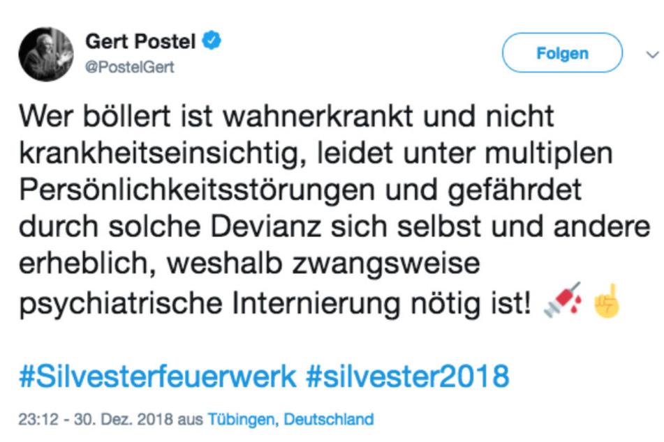 Hatet an Silvester auf Twitter gegen Böller: Hochstapler Gert Postel.