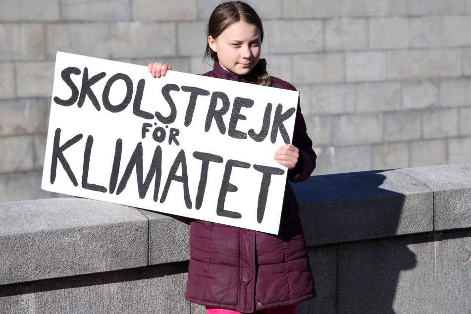"""Greta Thunberg hält während ihres Schulstreiks vor dem Reichstag ihr Schild mit der Aufschrift """"Skolstrejk för klimatet"""" (Schulstreik fürs Klima) in die Höhe."""