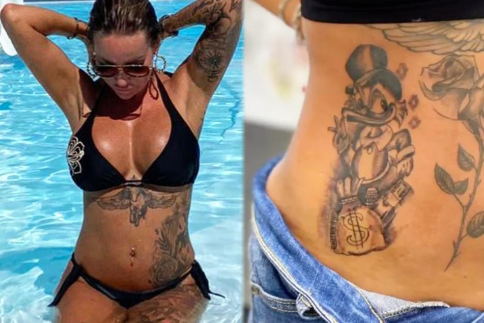 Wie der Vergleicht zeigt, wurden die Tattoos auf dem Bauch von Gina-Lisa Lohfink (34) in letzter Zeit erweitert. Zuletzt kam die Comicfigur Dagobert Duck hinzu.