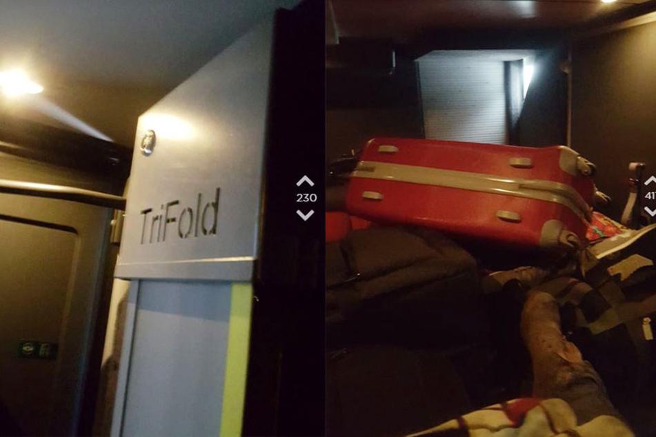 Mit Fotos aus dem Gepäckraum bewies sie den Usern, dass ihre Geschichte wahr ist.