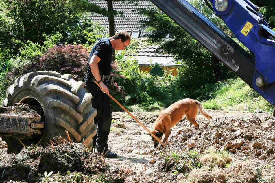 Die Polizei hatte Anfang Juli den Garten des Verdächtigen umgegraben.