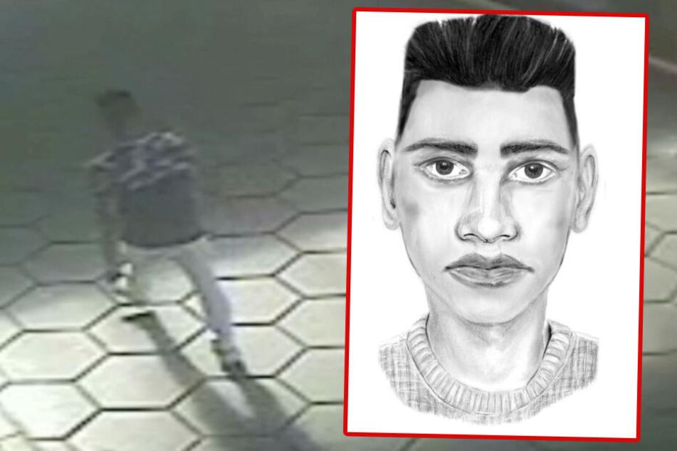 Suche mit Phantombild: Der Täter ist in einem Überwachungs-Video einer angrenzenden Tanktstelle zu sehen. (Bildmontage)