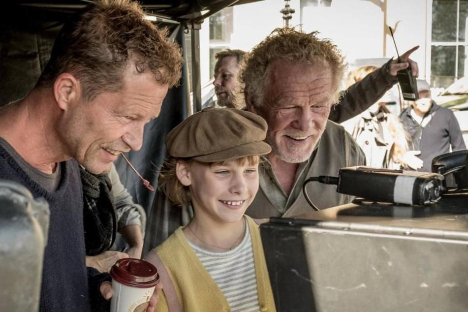 Nick Nolte (r.), Sophie Lane Nolte und Schweiger bei den Dreharbeiten.