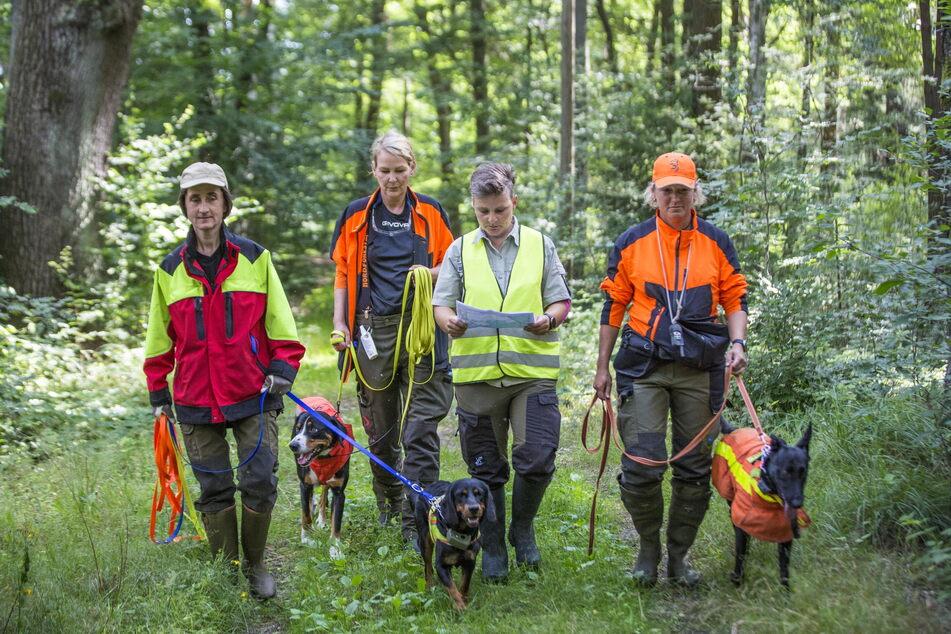 Auf zum Einsatz: Gabriele Ott (54, v.l.) mit Hündin Babett (2), Stefanie Loose (49) und Hund Toni (3), dann Forstrevierleiterin Kathrin Lattermann und Michaela Botz (49) mit Hündin Uschi (4).