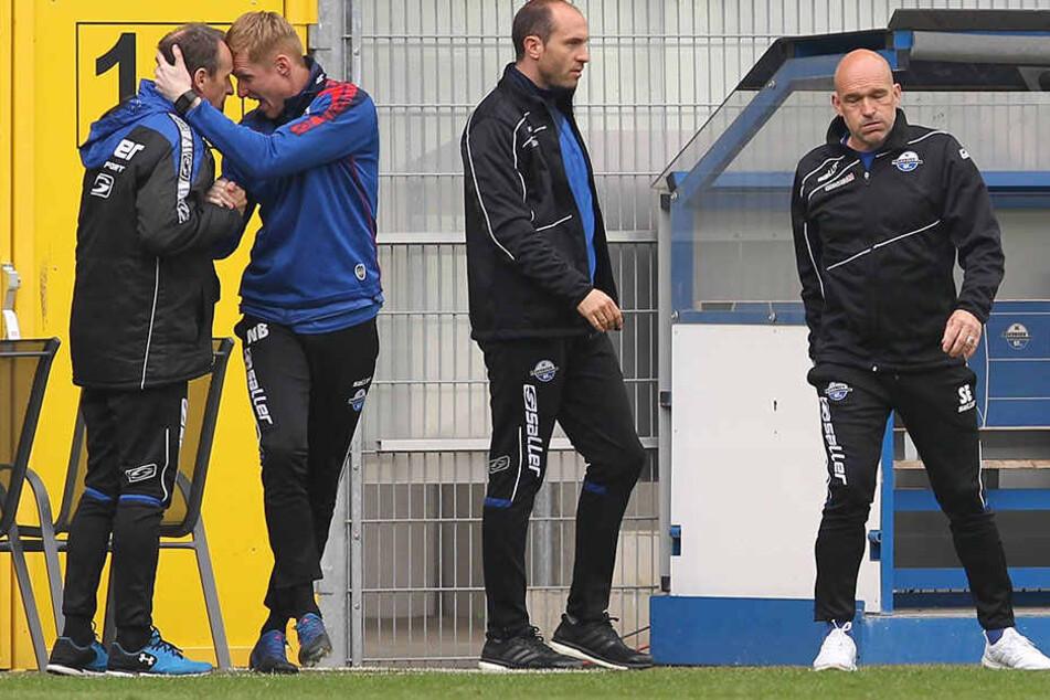 Durchatmen: SCP-Trainer Stefan Emmerling und Co-Trainer Daniel Scherning haben den Bock umgestoßen.