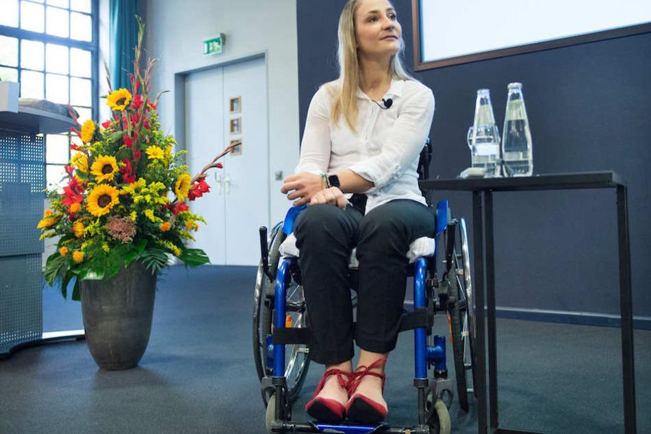 Kristina Vogel (28) bei einer Pressekonferenz Mitte September im Unfallkrankenhaus Berlin-Marzahn.