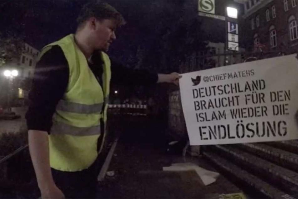 Künstler sprüht Hassbotschaften vor Hamburger Twitter-Büro