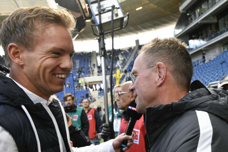 Am Samstag Konkurrenten, ab nächstem Sommer Kollegen: Hoffenheim-Trainer Julian Nagelsmann (l.) und Leipzigs Coach und Sportdirektor Ralf Rangnick.