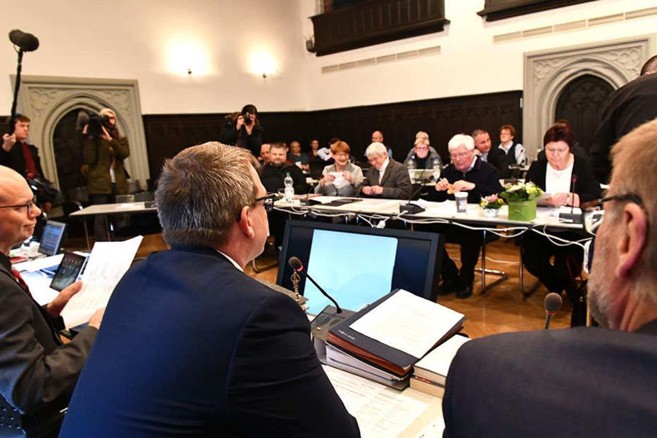 Der Freiberger Stadtrat. Vorn in der Mitte (von hinten) OB Sven Krüger (SPD).