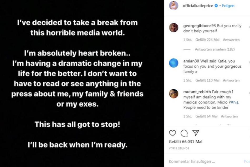 Der Abschieds-Post von Katie Price auf Instagram.