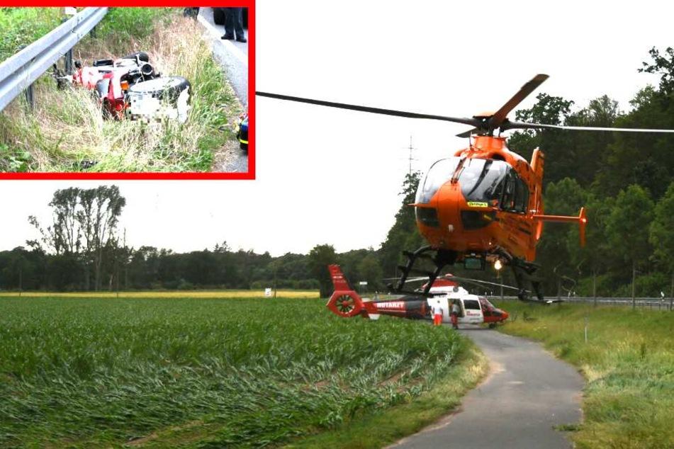 Biker gerät in Gegenverkehr: Schwerer Crash bei Babenhausen