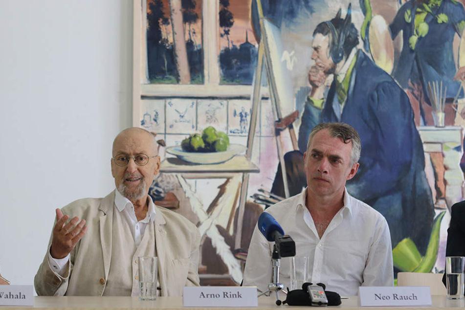 Arno Rink mit seinem bekanntesten Schüler: Neo Rauch (Mai 2017).