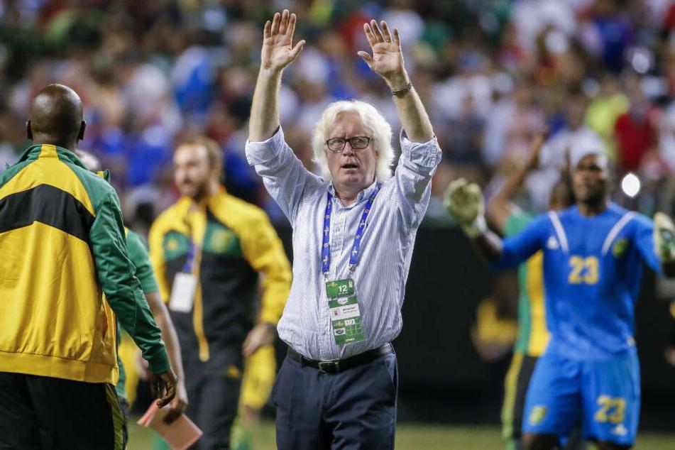 Als Trainer von Jamaika jubelte Schäfer 2015 mit seinen Spielern.
