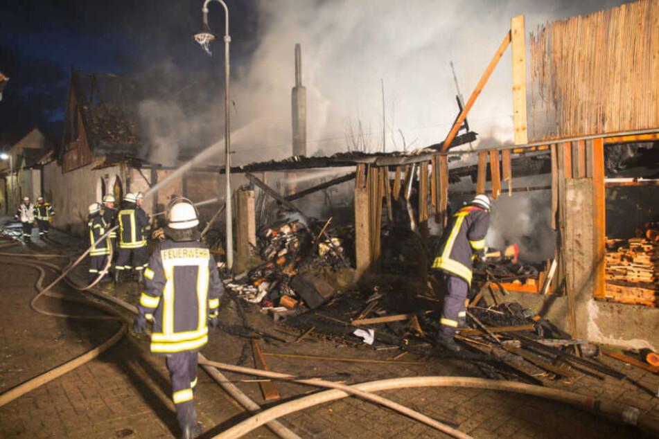 Das Feuer griff auch auf ein Nachbargrundstück über.