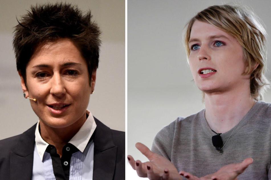 Sie werden auf der re:publica sprechen: Dunja Hayali (l) und Chelsea Manning.