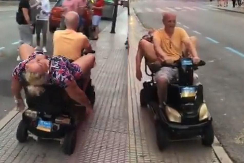 Die Frau hängt mitten in Benidorm platt wie ein Maikäfer vom Rentnermobil.