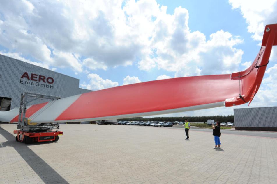 Ein Rotorblatt verlässt die mittlerweile stillgelegte Fabrik des Enercon-Zulieferers Aero Ems in Haren (Ems). (Archivbild)