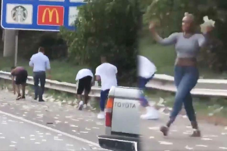 Mehrere Menschen sammelten das Geld von der Straße.