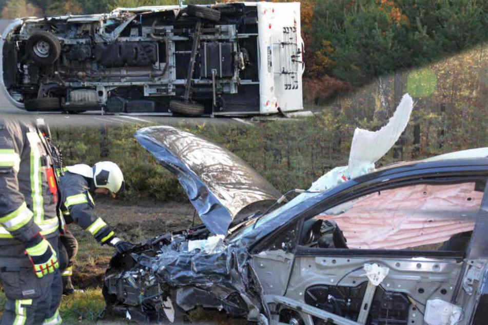 Heftiger Unfall bei Hoyerswerda: Wohnmobil landet auf der